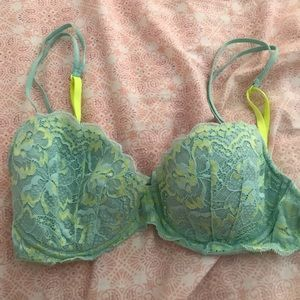 Pink Victoria's Secret Light Blue and Yellow Bra